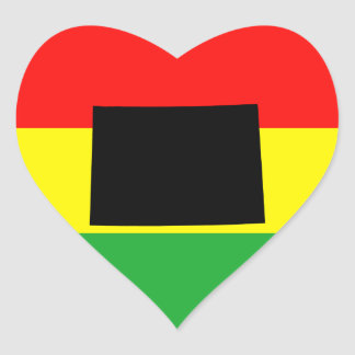 Wyoming with Rasta Colors Heart Sticker