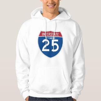 Wyoming WY I-25 Interstate Highway Shield - Hoodie