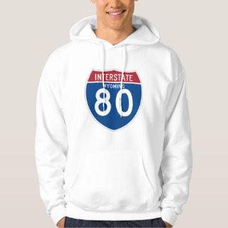 Wyoming WY I-80 Interstate Highway Shield - Hoodie