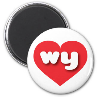 Wyoming wy red heart 6 cm round magnet