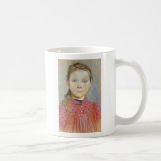 Wyspianski, Portrait of a Girl in a red Dress 1895 Basic White Mug