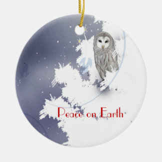 X003_Winter Owl, Peace on Earth Ceramic Ornament