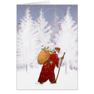 X010 Santa in the Forest Greeting Card