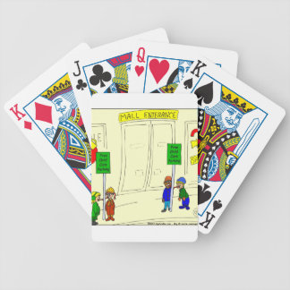 x09 Child care parking at mall cartoon Bicycle Playing Cards