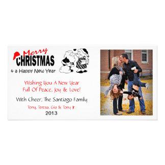 X2 Santa Kisses Mrs. Christmas Photo Cards