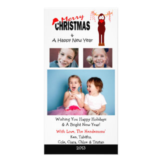 X4 Reindeer Candy Canes Christmas Cards Photo Card Template