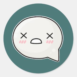 x eyes sad face round sticker