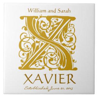 X Gold Monogram on White - Names Wedding Date Tile