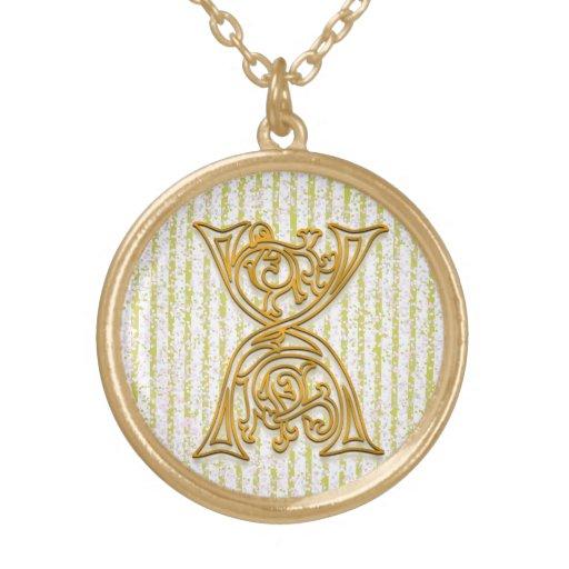 "X Initial Monogram ""Gold Pin Stripe"" Necklace Pendants"