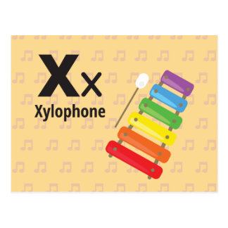 """X is for Xylophone-Alphabet Flash Card-5.5 x 4.25"""" Postcard"""