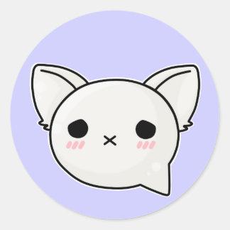 x kitty sad face round sticker