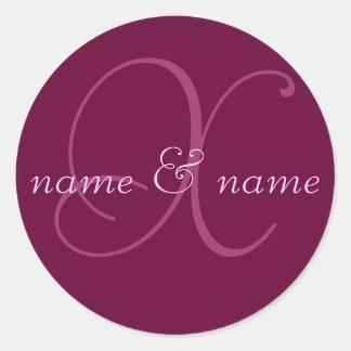 """X"" monogram label, personalize first names Round Sticker"