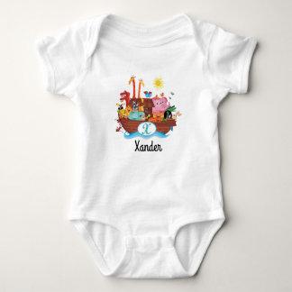 X Monogram Noah's Ark Personalized Baby T-shirt