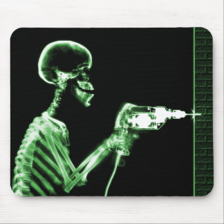 X-RAY CONSTRUCTION SKELETON DRILLING GREEN MOUSE PAD