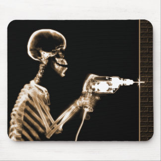 X-RAY CONSTRUCTION SKELETON DRILLING ORANGE MOUSE PAD