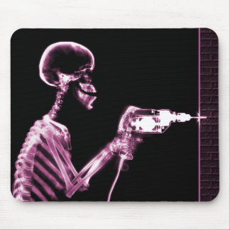 X-RAY CONSTRUCTION SKELETON DRILLING PINK MOUSE PAD