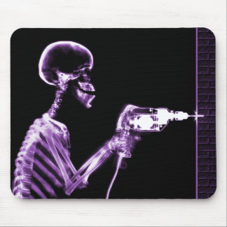 X-RAY CONSTRUCTION SKELETON DRILLING PURPLE MOUSE PAD