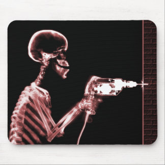 X-RAY CONSTRUCTION SKELETON DRILLING RED MOUSE PAD