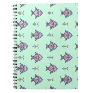 X-ray fish on aqua notebooks