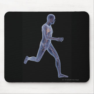 X-ray of the vascular system in a running man mouse pad