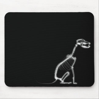 X-RAY PUPPY DOG SKELETON SITTING - B&W MOUSE PAD