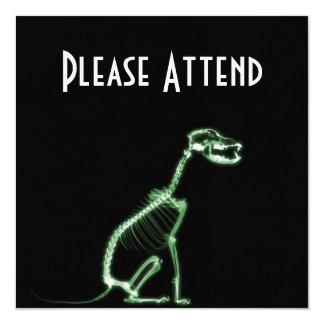 X-RAY PUPPY DOG SKELETON SITTING - GREEN INVITES