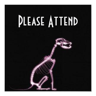 "X-RAY PUPPY DOG SKELETON SITTING - PINK 5.25"" SQUARE INVITATION CARD"