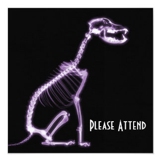 "X-RAY PUPPY DOG SKELETON SITTING - PURPLE 5.25"" SQUARE INVITATION CARD"