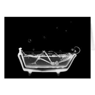 X-Ray Skeleton B&W Bath Time Card