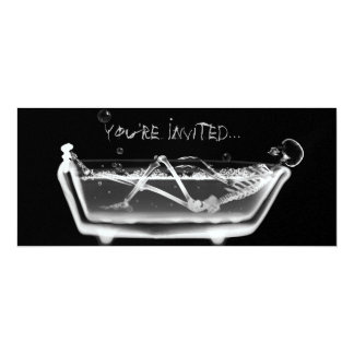"X-Ray Skeleton B&W Bath Time Invites 4"" X 9.25"" Invitation Card"