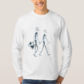 X-Ray Skeleton Couple Travelling - Blue T-Shirt