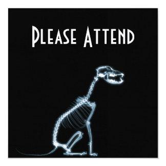 "X-RAY SKELETON DOG SITTING - BLUE & BLACK 5.25"" SQUARE INVITATION CARD"