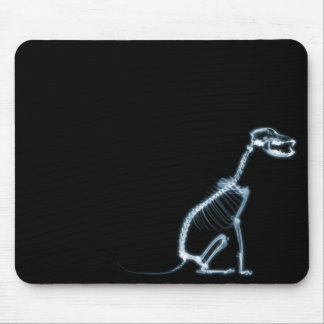 X-RAY SKELETON DOG SITTING - BLUE & BLACK MOUSE PAD