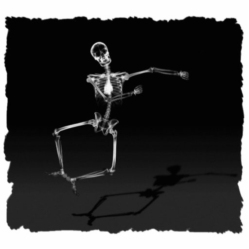 X-RAY SKELETON JOY LEAP B&W CUT OUTS