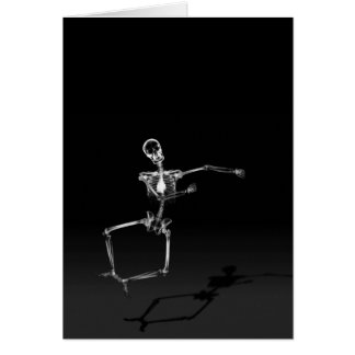 X-RAY SKELETON JOY LEAP B W GREETING CARD