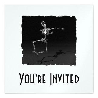 "X-RAY SKELETON JOY LEAP B&W 5.25"" SQUARE INVITATION CARD"