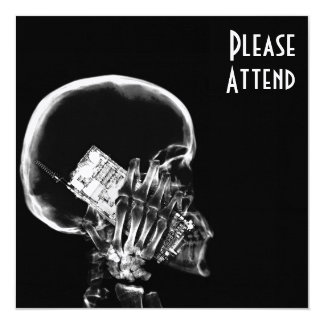 X-RAY SKELETON ON CELL PHONE BLACK & WHITE 13 CM X 13 CM SQUARE INVITATION CARD