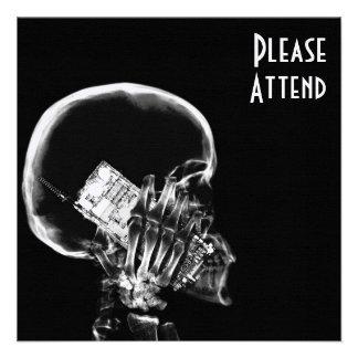 X-RAY SKELETON ON CELL PHONE BLACK & WHITE INVITE
