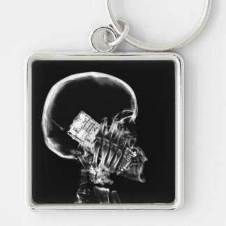 X-RAY SKELETON ON CELL PHONE BLACK & WHITE KEYCHAINS