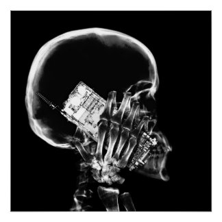 X-RAY SKELETON ON CELL PHONE BLACK & WHITE POSTER