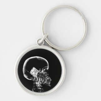X-RAY SKELETON ON CELL PHONE BLACK & WHITE Silver-Colored ROUND KEY RING