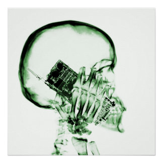 X-RAY SKELETON ON CELL PHONE - GREEN POSTER