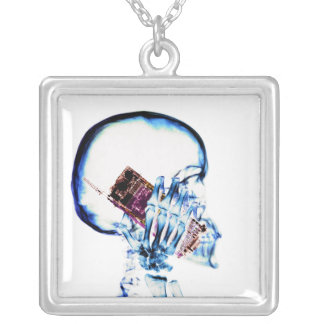 X-RAY SKELETON ON CELL PHONE SILVER PLATED NECKLACE