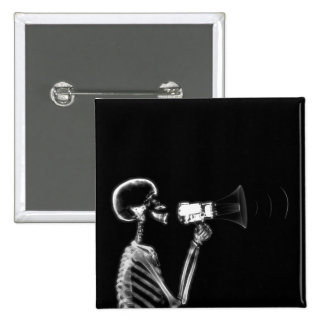 X-RAY SKELETON ON MEGAPHONE - B&W 15 CM SQUARE BADGE