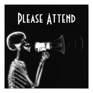 X-RAY SKELETON ON MEGAPHONE - B&W 13 CM X 13 CM SQUARE INVITATION CARD