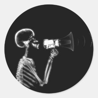 X-RAY SKELETON ON MEGAPHONE - B&W ROUND STICKER