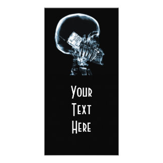 X-RAY SKELETON ON PHONE - BLUE PHOTO CARD