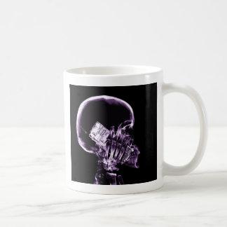 X-RAY SKELETON ON PHONE - PURPLE COFFEE MUG