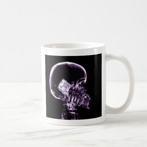X-RAY SKELETON ON PHONE - PURPLE COFFEE MUGS