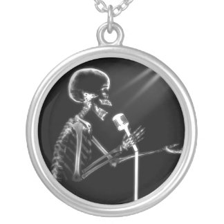 X-Ray Skeleton On Retro Microphone Silver Plated Necklace